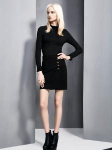 依然秀冬季新款黑色时尚打底套装