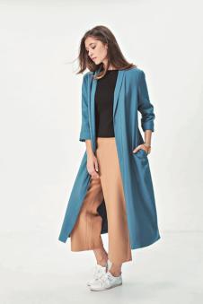 2016SN秋冬新品蓝色长款外套