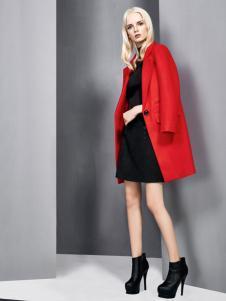 依然秀冬季新款红色大衣
