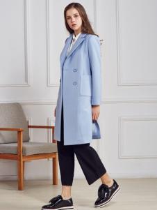都市衣柜蓝色长款毛呢大衣