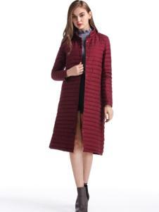 淑女日记最新长款酒红色保暖羽绒服