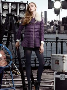 必芙丽紫色拼接羽绒服