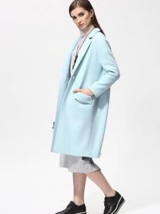 Sofeya女装秋冬新品蓝色呢大衣