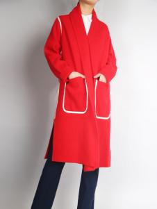 零时尚红色时尚外套