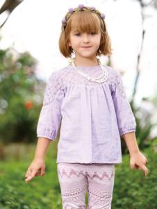 皇后婴儿女大童春夏新款浅紫色上衣