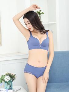 珍妮芬新款蓝色调整聚拢文胸套装