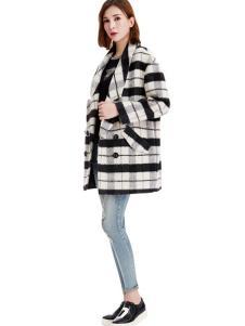 艾米塔女装2016秋冬新品格子翻领大衣