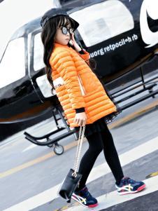 玛玛米雅女童橙色羽绒服