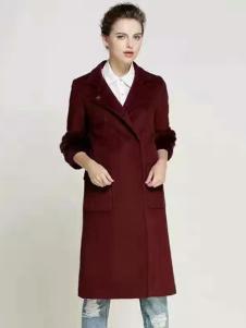 湘衣铭红色七分袖H版大衣