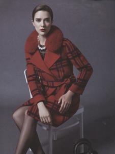 阿莱贝琳红色格纹束腰呢外套