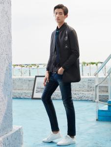 空间男装黑色中款外套