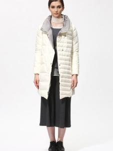 Sofeya女装秋冬新品白色中长款羽绒服