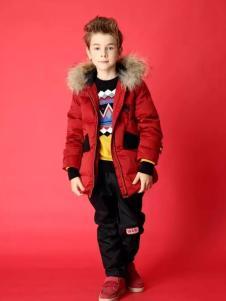 嗒嘀嗒冬季红色羽绒服