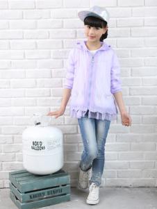 1+2=3童装2016新品紫色外套