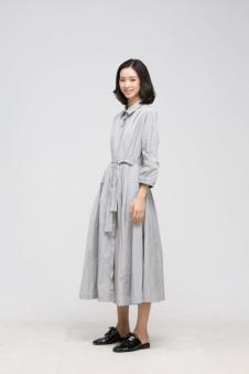 贝洛安女装2017春新品收腰棉麻长裙