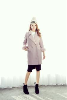 MISS ONE女装2016新品翻领中长款大衣