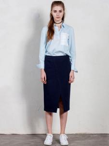 GCCG女装2016秋冬新品蓝色衬衫