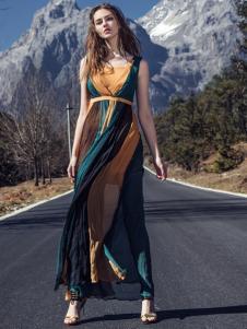 卡索2017春夏新款时尚复古连衣裙