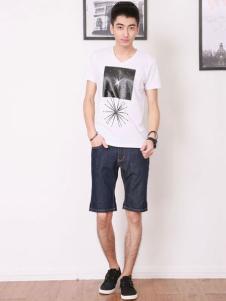 V.S HOLIDAY男装样品白色简约T恤