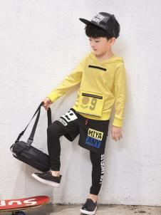 玛玛米雅男童黄色连帽卫衣