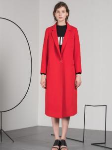 蓝色倾情红色长款欧版大衣