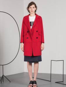 蓝色倾情红色韩版修身大衣