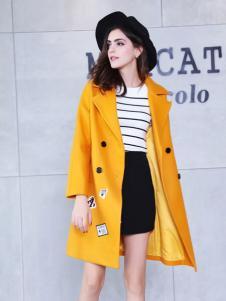 艾诺绮黄色收腰大衣新款
