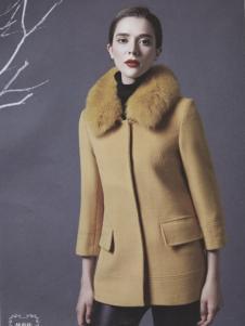 阿莱贝琳黄色中款呢外套