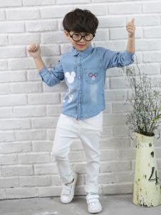 1+2=3童装2016新品男童牛仔衬衫