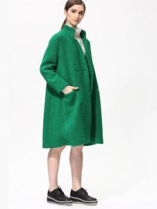 Sofeya女装秋冬新品绿色廓形大衣