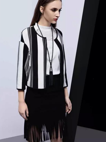 依米奴女装新品流苏黑色半裙