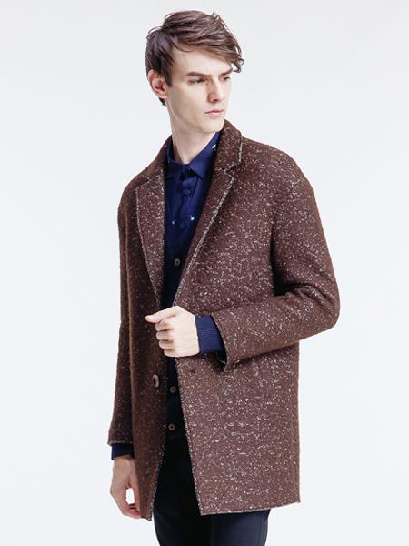 它钴咖啡色毛呢大衣