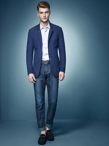 杉杉男装新款蓝色西服