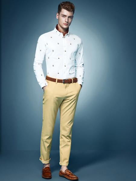 杉杉男装新款白色印花衬衫