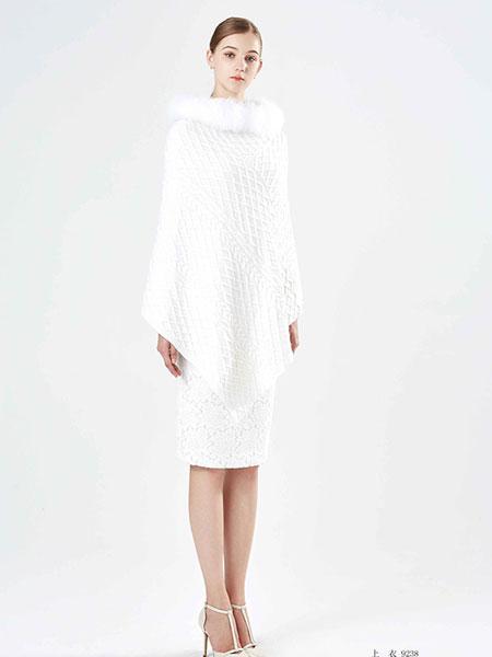 保时霓白色不规则连衣裙