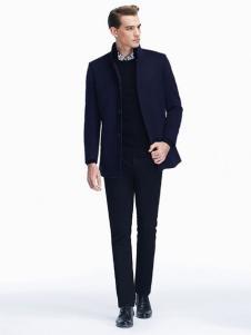 七匹狼男装新品深蓝色外套大衣