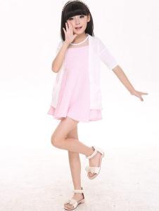 卡儿菲特童装粉色连衣裙