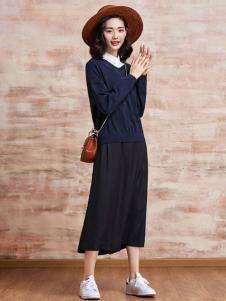 PUKKA蒲女装2017春夏新品宝蓝色针织衫