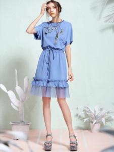 tunetune女装蓝色收腰连衣裙