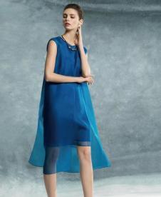 BBLLUUEE粉蓝时尚2017春夏新品蓝色双层连衣裙