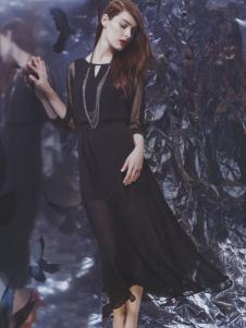 阿莱贝琳黑色雪纺长裙