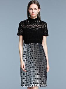 艾丽哲黑恶蕾丝拼接连衣裙