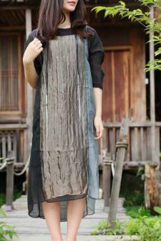 味道2017春夏新品直筒型棉麻连衣裙