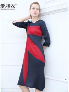 爱褶衣春夏圆领褶皱撞色拼接连衣裙
