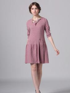 Phidias菲迪雅丝女装棉麻长袖连衣裙