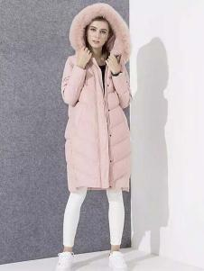 爱博·琼斯女装粉色长款连帽羽绒服