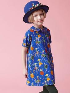 IKKI(安娜与艾伦)童装新品印花连衣裙