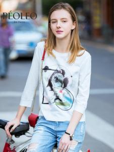 Peoleo飘蕾2017春装新品白色圆领印花T恤
