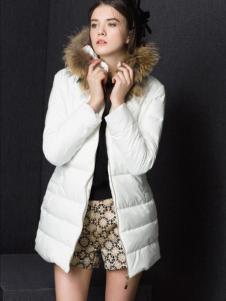 Enaco爱妮格女装白色长款羽绒服