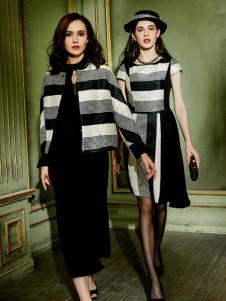 尚约时尚条纹连衣裙
